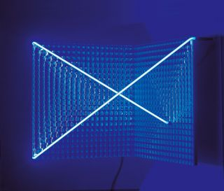 square patterned mirror glass and blue neon tube 40x40x40cm, 1997