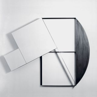 three-dimensional structure, wood and T-steel profile 200x200cm 1992